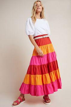 Estrela Tiered Maxi Skirt | Anthropologie Maxi Skirt Outfits, Midi Skirt, Study French, Modest Fashion, Sunny Days, Anthropologie, Skirts, Swimwear, Collection