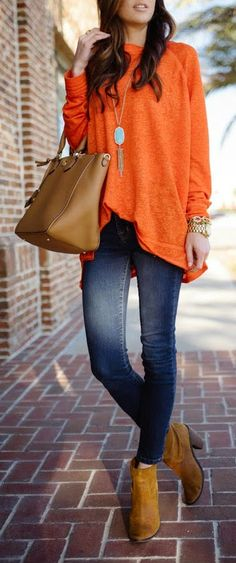 ORANGE & TURQUOISE - Long Sleeve Raglan Tee, Skinny Stretch Jeans, Kendra Scott 'Rayne' Necklace in Turquoise, Brown Ankle Boots / Sequins and Things