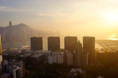 Sun set over Hong Kong