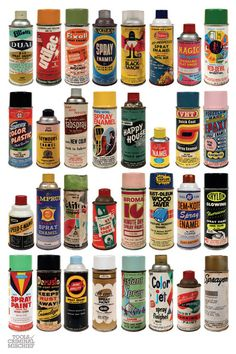 Amazing Collection of Vintage Spray Paint Cans