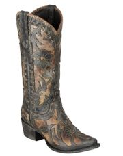 Poison from Lane Boots is a vintage inspired ladies cowgirl boot that features cut outs and under laid leather.  The floral cut out design and bucklace stitching on the shaft and ankle of the boot are reminiscent of an era when cowboys were king and cowgirls were queen.  With its contemporary snip toe and 1½