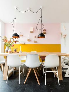 Bored with the monotone color of your dining room and need reference to change it? Check these dining room colors ideas out and you'll love them! Dining Room Colors, Kitchen Colors, Colorful Decor, Colorful Interiors, Half Painted Walls, Yellow Interior, Yellow Walls, Wall Colors, Sweet Home