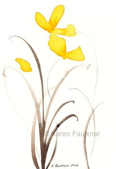 Sunshine Dance yellow watercolor flowers by karenfaulknerart, $15.00