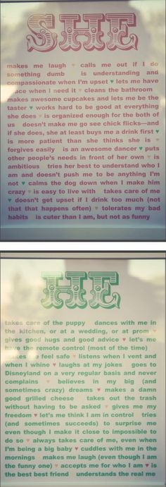 signs of all the different reasons why the bride and groom love each other displayed at their wedding. so cute!