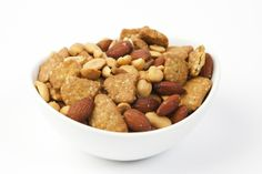 Salted Crunchy Snack Mix includes party peanuts, salted almonds, and salted sesame chips. Yummy! $10.95 for 3 pound bag.