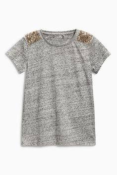 Buy Next Sequin Shoulder T-Shirt (3-16yrs) online | Shop The Brand Store