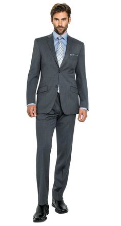 2 Button Notch Slim Giallo Stripe-grey Men's Suit $498.00