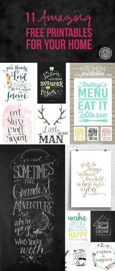 11 Amazing Free Printables for Your Home Decor. Fabulous and Inexpensive Wall Art Ideas!