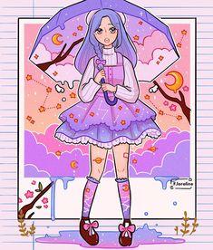 Aesthetic Drawing, Aesthetic Anime, Aesthetic Art, Arte Do Kawaii, Kawaii Art, Cartoon Art Styles, Cute Art Styles, Arte Copic, Arte Sketchbook