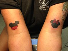 This is the eleventh and twelfth tattoos I've done. I did simple Disney Mickey Mouse and Minnie Mouse tattoos on our piercer. This was fresh, right after I finished tattooing. I'm a tattoo and piercing apprentice at Fine Line Tattoo Company in Gettysburg, PA.