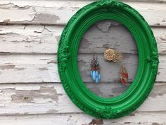 Kelly green vintage oval jewelry frame display organizer upcycled and repurposed picture frame on Etsy, $20.00