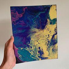Easy acrylic fluid painting, fluid art, gold canvas, dutch pour canvas