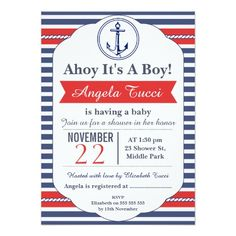baby shower love you to the moon and back blue boy card | the o, Baby shower invitations