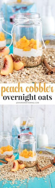 Peach Cobbler Overnight Oats - Short on time in the mornings? Whip up these quick overnight oats for a grab and go breakfast! Overnight Breakfast, Overnight Oatmeal, Breakfast Time, Breakfast Recipes, Breakfast Cookies, Breakfast Smoothies, Paleo Breakfast, Brunch Recipes, Breakfast Ideas