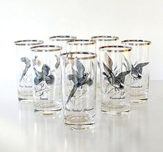 Vintage  Barware Set Game Birds Glassware Federal by retrogroovie, $39.99 #barware #birds #federalglass
