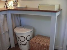 Painted trash can for dog food.  You could do this for a laundry bin too!