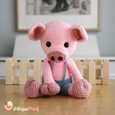 Crochet Pig, Crochet Patterns Amigurumi, Crochet Hook Sizes, Crochet Hooks, Piglet, Doll Toys, Dolls, Crochet Basics, Baby Toys