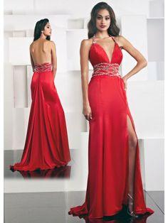 Satin Spaghetti Strap V-neck Xtreme Long Special Occasion Dress