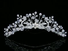 Rhinestone Crystal Pearl Flower Bridal Wedding Tiara Comb - Faux Pearl Flower Center Silver Plating -- You can find more details by visiting the image link.