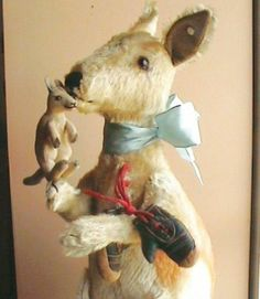 1952 Steiff Jointed Kangaroo and Joey with Leather Mini Boxing Gloves | eBay