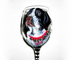 Pet Portrait Hand Painted Wine Glass by SharonsCustomArtwork