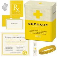 Get your friend through their break-up with a little TLC. Of course, youll be giving your shoulder to cry on, but you can also give any of these helpful, filled with humor kits; Break-up Recovery Kit, Workday Recovery Kit, even a Hangover Recovery Kit. All kits are complete with a remedy booklet, bandages, affirmation cards, charms, declarative bracelet and a recovery certificate. ~$12.99