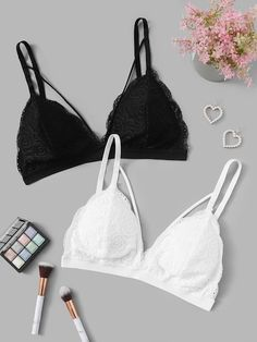 Vintage Lingerie Harness Floral Lace Bra Set - Color:Black and White Composition:Lace Type:Bras Style:Sexy Chest pad:Yes Bra Type:Bralettes Material:Lace Jolie Lingerie, Bra Lingerie, Ropa Interior Retro, Latest Bra, Rose Applique, Bra Types, Bustier, Vintage Lingerie, Floral Lace