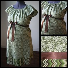Maternity Hospital Labor Delivery Gown-Green Geometric Floral, Chevron Band (labor and delivery gown) on Etsy, $60.00