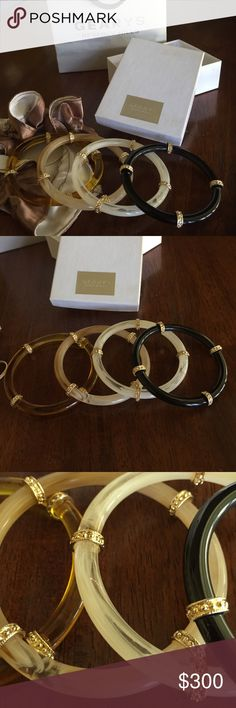 💥FLASH SALE 9/24💥 Gearys Beverly Hills bangles 💥FLASH SALE TODAY ONLY!! $40 off asking price! Will go back to $330 tomorrow 9/25!💥 Gearys Beverly Hills bangles. Never worn and absolutely gorgeous. These chic bangles dress up any outfit. Comes with store bag, store box and the original sack which the bangles came in! Jewelry Bracelets
