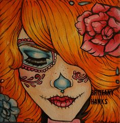Items similar to Tangerine Stretched Canvas Print Day of the Dead Dia de los muertos Rockabilly Pin Up girl redhead Lowbrow Tattoo art sugar skulls on Etsy Sugar Skull Tattoos, Sugar Skull Art, Sugar Skulls, Pinup, Day Of The Dead Girl, Rockabilly Pin Up, Chicano Art, Lowbrow Art, Illustrations