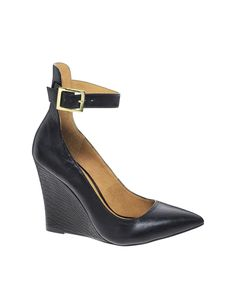 Only $100! | River Island Black Leather Plain Cuff Court Wedge Shoes