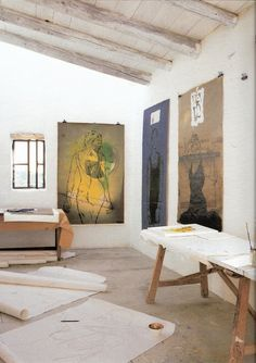 Linde bialas art studio floors and work table Art Studio Design, Art Studio At Home, Studios D'art, Atelier D Art, Backyard Studio, Painting Studio, Painting Art, Dream Studio, Foto Art
