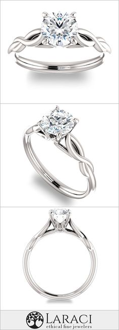 14K White Gold Solitaire Engagement Ring set with a 1ct (6.5mm) Round Forever Brilliant Moissanite