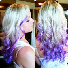 Platinum blonde hair color with ends in dark purple using Joico Intensity Indigo hair color: More Hair Styles Like This!
