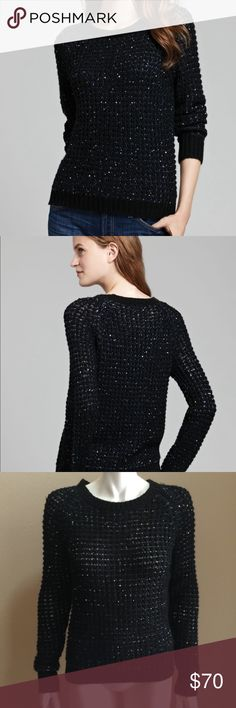 Joie kyleen metallic sequin mixed stitched Very good condition. Black sweater with sequin. Joie Sweaters Crew & Scoop Necks