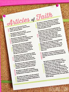 Articles of Faith - Free Printable