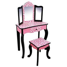 Teamson Kids Pretend Play Kids Vanity Table and Chair Vanity Set with Mirror Makeup Dressing Table with Drawer Fashion Leopard Prints Gisele Play Vanity Set Pink Black Girls Vanity Table, Kids Vanity Set, Vanity Set With Mirror, Painted Vanity, Wooden Vanity, Vanity Stool, Diy Vanity, Vanity Drawers, Kids Bedroom Furniture