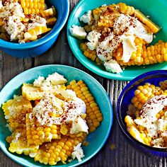 "Inspired by traditional Mexican esquites -- literally ""toasted corn"" -- these buttery but low-cal Corn Cups are a unique way to serve seasonal corn. More healthy recipes: http://www.bhg.com/recipes/party/party-ideas/heart-healthy-potluck-recipes/ #myplate"