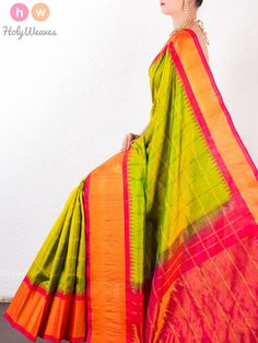 Green Katan Silk Brocade Handwoven Gadwal Saree - HolyWeaves - 1
