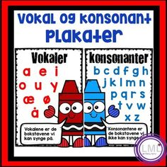 Vokal og konsonant plakat by LaerMedLyngmo Teacher Pay Teachers, Teacher Resources, Grammar, Norway, Language, Teaching, Education, Montessori, Asia