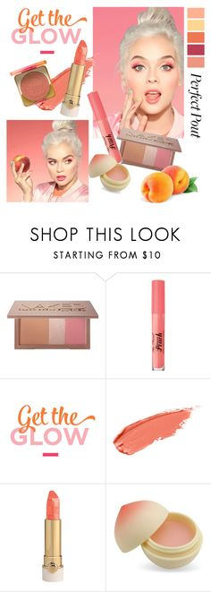 """Get the Glow - Peach"" by groove-muffin ❤ liked on Polyvore featuring beauty, Too Faced Cosmetics, Urban Decay, TONYMOLY, peach, contestentry, ulta, beautyset and peachlipstick"