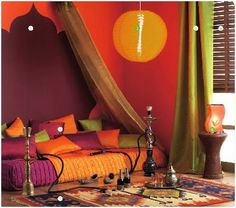 Arabian bedroom, with colored curtains instead of painted walls