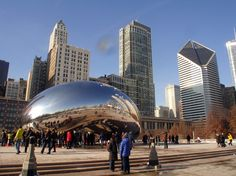 """""""The Bean"""" in Chicago, IL... and the building with the diamond shape was seen in the movie """"Adventures in Babysitting"""" a family favorite. LOL"""