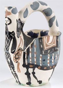 Madoura/Pablo Picasso (Spanish, 1881-1973) earthenware pitcher, Cavalier and Horse, 8¾ inches high, circa 1952, 28/300, Madoura Plein Feu pottery stamps.