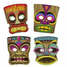 Another great find on Tiki Mask - Set of Eight Aloha Party, Party Fiesta, Hawaiian Luau Party, Hawaiian Tiki, Moana Birthday Party, Moana Party, Hawaiian Theme, Luau Birthday, Tiki Party