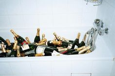 Champagne chilling in the bathtub