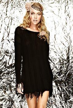 Michael Lauren Roy Fringe Sweater Dress in Black