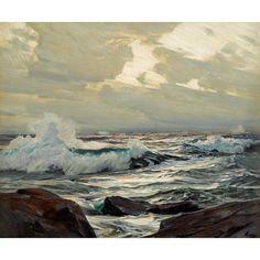 Rockey Seascape, Frederick Judd Waugh. American (1861 - 1940) - Oil on Canvas-