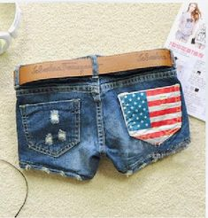 Hot sale 2014 summer new arrival women's fasion denim shorts America flag denim shorts jeans female _ {categoryName} - AliExpress Mobile Version - Ripped Shorts, Hot Shorts, Hot Pants, Blue Shorts, Denim Shorts, Waisted Denim, Blue Jeans, Cheap High Waisted Shorts, American Flag Shorts