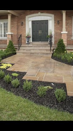 front porch with stamped concrete Concrete Steps, Stamped Concrete, Front Yard Walkway, Front Porch, Masonry Work, Lawn Edging, Front Entrances, Garden Shop, Flagstone